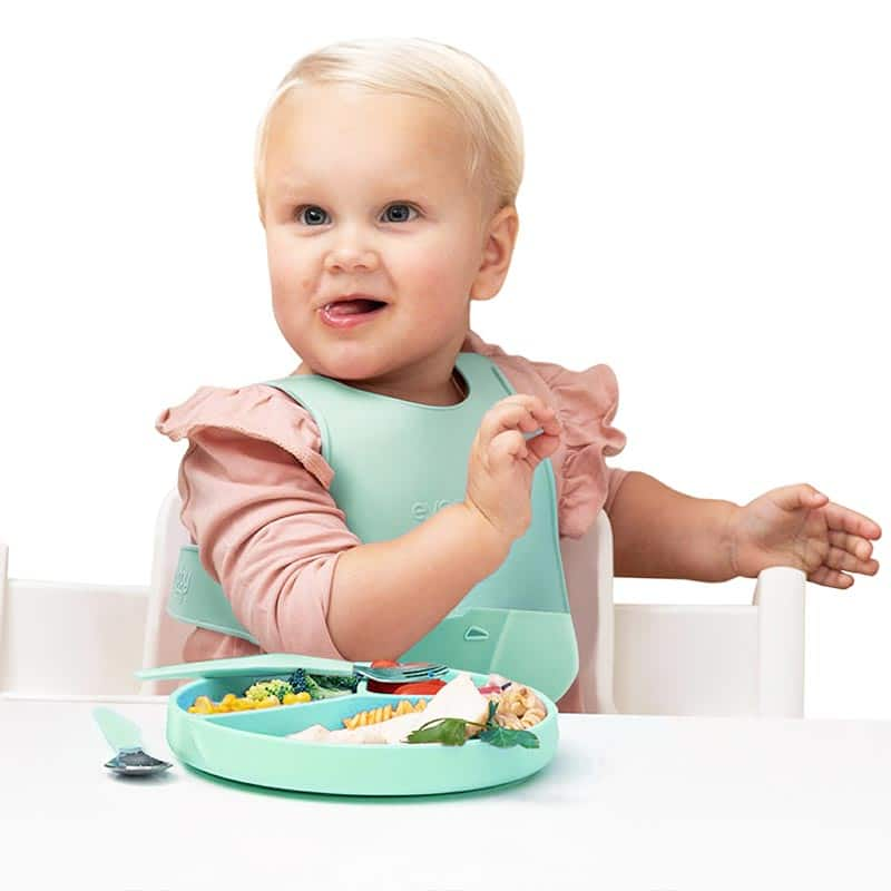 everyday-baby-feeding-line-silicone-bib-plates-and-cutlery-baby-eating-pjm-distributions-inc