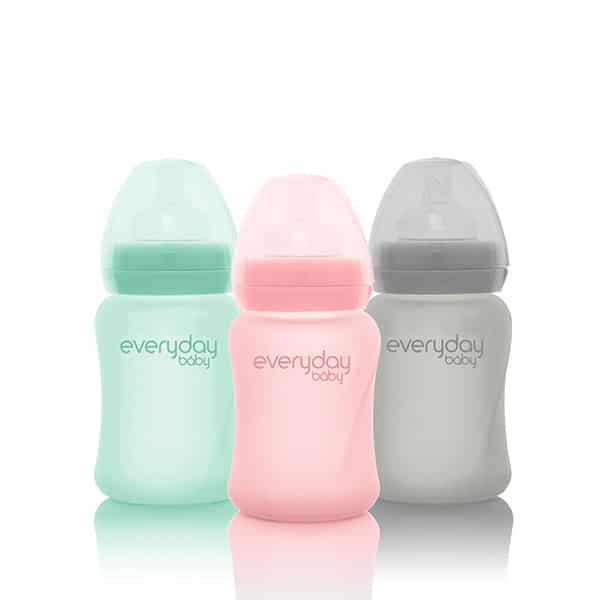 everyday-baby-silicone-coated-glass-sippy-cups-pink-mint-grey-150-ml-pjm-distributions-inc-lid