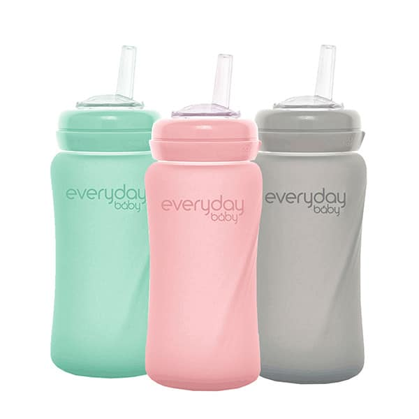 everyday-baby-silicone-coated-glass-srtraw-cup-pink-mint-grey-240-ml-pjm-distributions-inc