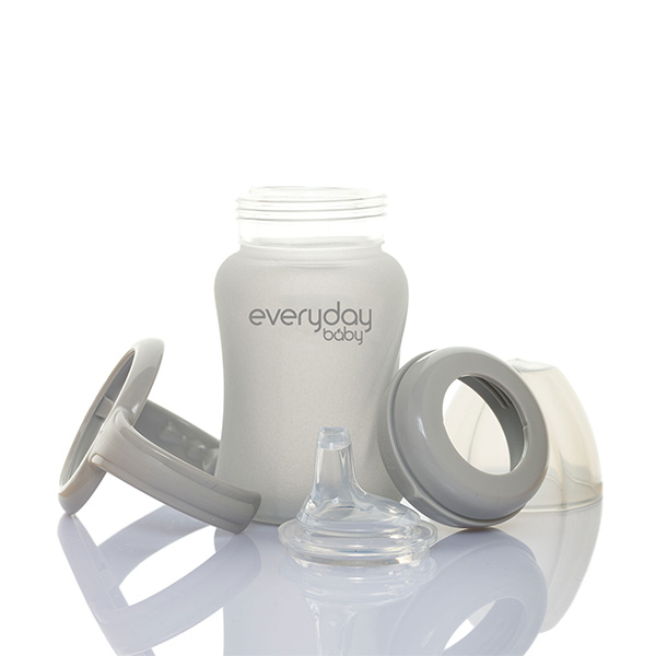 everyday-baby-silicone-coated-glass-sippy-cups-150-ml-pjm-distributions-inc-lid-quiet-grey