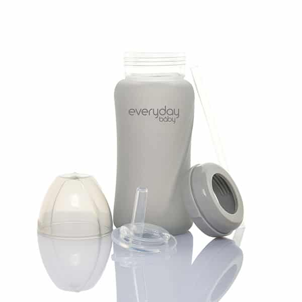 everyday-baby-silicone-coated-glass-srtraw-cup-quiet--grey-240-ml-pjm-distributions-inc