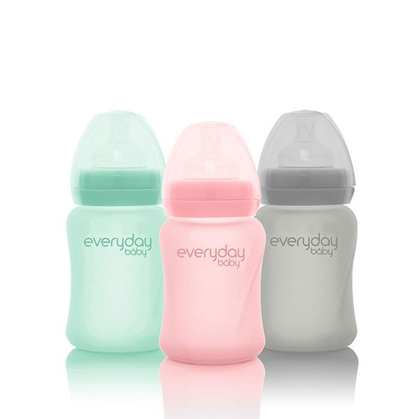 everyday-baby-silicone-coated-glass-baby-bottles-pink-mint-grey-150-ml-pjm-distributions-inc